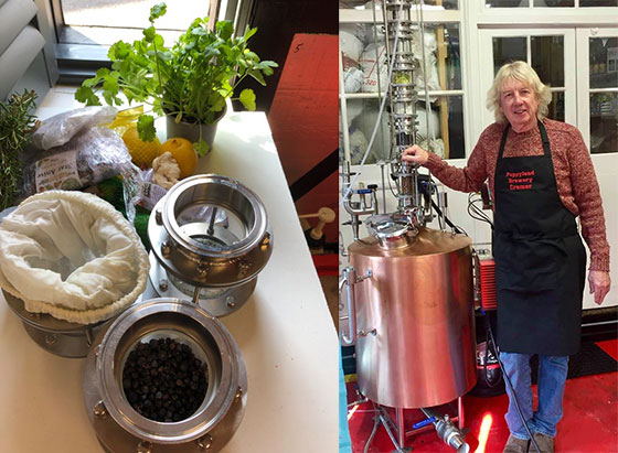 Poppyland East Coast Dry Gin in production, showing botanicals and still